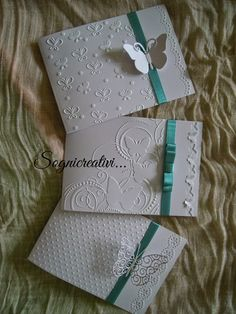 Partecipazioni Sognicreativi Wedding and Events: Partecipazioni matrimonio e com. Hand Made Greeting Cards, Making Greeting Cards, Greeting Cards Handmade, Tarjetas Stampin Up, Stampin Up Cards, Wedding Invitation Cards, Wedding Cards, Embossed Cards, Butterfly Cards