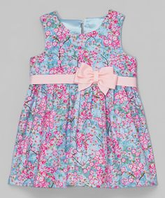 Look what I found on #zulily! Pink & Blue Cherry Blossom Bow Dress - Infant & Toddler by Caught Ya Lookin' #zulilyfinds