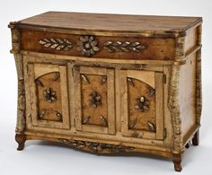 This beautiful birch bark console table is made in the Adirondack style furniture for lodge, cabin, or rustic decors in custom sizes and layouts. Twig Furniture, Rustic Living Room Furniture, Adirondack Furniture, Sideboard Furniture, Shabby Chic Furniture, Painted Furniture, Rustic Sideboard, Repurposed Furniture, Rustic Dresser