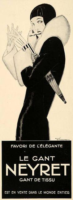 Vintage Illustrations Neyret ad - Art Deco Illustration More - Art Deco Illustration, Gravure Illustration, Retro Poster, Vintage Posters, Vintage Art, Vintage Black, Art Français, Ad Art, Art Nouveau Pintura