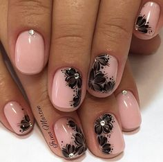 Pink with Black Design Manicure