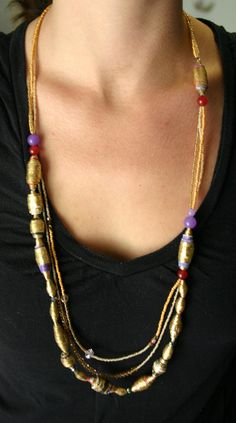 Items similar to Gold leafed paper bead jewelry with Jade and Swarovski crystals on Etsy Paper Bead Jewelry, Paper Beads, Jewelry Crafts, Jewelry Art, Beaded Jewelry, Beaded Necklace, Jewelry Ideas, Purple Gold, Metallic Gold