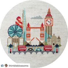 """I'm digging the cool neutrals of Satsuma Street's """"Pretty Little London"""". Thread Art, Needle And Thread, Cross Stitching, Cross Stitch Embroidery, Needlepoint Canvases, Pretty Little, Needlework, Arts And Crafts, Hand Painted"""