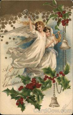 Old Christmas Postcard Vintage Christmas Images, Old Fashioned Christmas, Christmas Past, Victorian Christmas, Christmas Pictures, Christmas Angels, Christmas Greetings, Chihiro Y Haku, Victorian Angels
