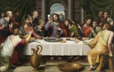 JUAN DE JUANES: La Última Cena (Museo del Prado). La inspiración en composición, tonos, uso del sfumato, etc. con Leonardo es evidente.