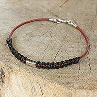 Men's leather and silver bracelet, 'Vintage Siam'