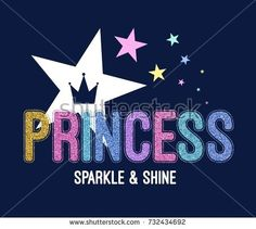 princess slogan with colorful glitter vector.