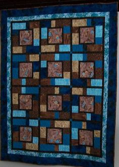 Blue brown throw quilt -  turquoise tile blanket -large cerulean quilted throw -all season -futon daybed quilt - over-sized -retirement gift by ExpressionQuilts on Etsy