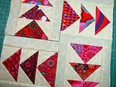 Tutorial - Paper Piecing, A Step By Step [I use a postcard myself, grin]  Aren't those fabrics darling????  yum!