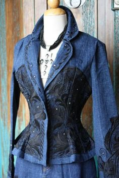 Vintage Collection black embroidery on denim jacket. Mode Baroque, Jeans Fit, Denim Ideas, Denim Crafts, Altered Couture, Recycled Denim, Mode Vintage, Denim Fashion, Refashion