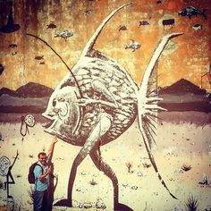 "Alien ""fishy"" street art. #streetart #culture / #Almada #Lisboa #Portugal"
