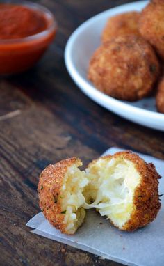 Arancini (Rice Balls) with Marinara Sauce Recipe. Best if made with sushi rice.