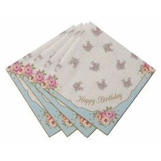 Dab away those tea and crumpet crumbs with these simple and sweet classic napkins.  A beautiful floral design with Happy Birthday scrolled in each corner 20 pa