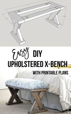 DIY Upholstered X-Bench using 2 x 4 boards with Plans, Diy And Crafts, I love this! The perfect weekend woodworking project! Build this upholstered X-bench with simple tools in a few hours! Grab the printable plans! Woodworking Bench Plans, Woodworking For Kids, Woodworking Projects That Sell, Popular Woodworking, Wood Plans, Woodworking Garage, Woodworking Articles, Woodworking Classes, Woodworking Hacks