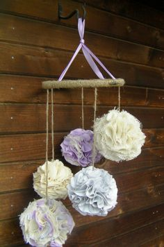 Burlap and Lace Fabric Pom Mobile Lavender cream and by RIandPI, $115.00  Now to figure out how to make these poms myself?