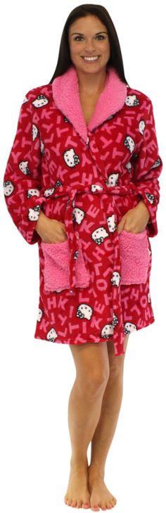 Robe Hello Kitty Girls Pink Hearts and Dot Print Plush Fleece Bathrobe
