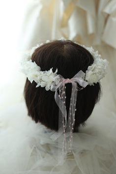 リングガール、フラワーガール用の花冠 プリザーブドのアジサイで 椿山荘東京様へ : 一会 ウエディングの花