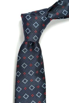 Silk tie in navy blue with red dots  High Quality by speaklouder, 96.00