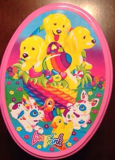 HTF Rare Vintage 90's LISA FRANK Dog Rabbit Easter Themed Colorful TIN 5x5x7
