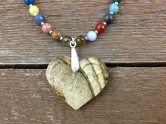 Mixed Clay Ceramic Heart with Gemstones by AriGarDesigns on Etsy