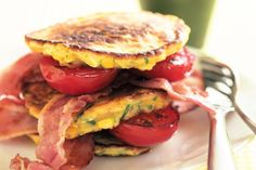 Sweetcorn fritters with bacon and tomato