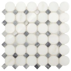 Daltile Premier Accents White and Gray Coin 11 in. x 12 in. x 8 mm Stone Mosaic Floor and Wall Tile sq. / - The Home Depot Stone Mosaic Tile, Mosaic Wall Tiles, Marble Mosaic, Ceramic Mosaic Tile, Mosaics, Shower Backsplash, Bathroom Floor Tiles, Tile Installation, Glass Art