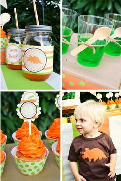 """We dig this party!"" -I would add a gummy dinosaur to the jello cups to add to the ""dig it"" theme."