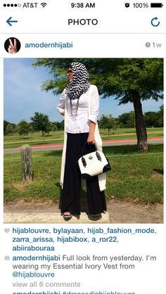 [Love  this essential ivory vest ! You can wear it with almost anything! Definitely a must have! Only a few left www.hijablouvre.com! ] @amodernhijabi  #dressedinhl rocking our essential ivory vest! #hijablouvre #handmade #custommade in #usa; #unique #highend #elegant