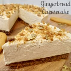 Gingerbread Cheesecake by She Who Bakes. gingerbread unsalted butter For the filling; Xmas Food, Christmas Cooking, Christmas Desserts, Fall Food, Christmas Recipes, Christmas Ideas, Gingerbread Cheesecake, Christmas Cheesecake, Gingerbread Recipes