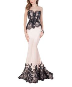 Love this Champagne & Black Lace-Accent Strapless Gown on #zulily! #zulilyfinds