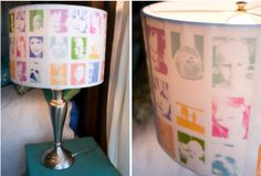 Photo collage DIY lampshade. Desaturate color and brighten photos in Photoshop before printing.