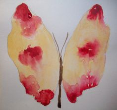 Original watercolor painting of a red and yellow butterfly
