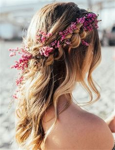 wedding hairstyles trendy hairstyles and colors wedding hairstyles half up half down; wedding hairstyles for long hair; wedding hairstyles trendy hairstyles and colors wedding hairstyles half up half down; wedding hairstyles for long hair; Wedding Hairstyles Half Up Half Down, Wedding Hairstyles For Long Hair, Loose Hairstyles, Bride Hairstyles, Trendy Hairstyles, Hairstyle Wedding, Hair Wedding, Wedding Hairstyle With Flowers, Hippie Wedding Hair