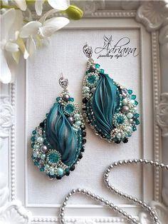 Blue zircon silk shibori earrings by CrystalPearlStudio