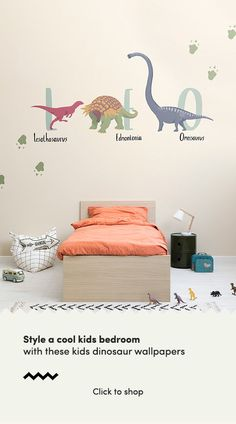 Get up close and personal with the dinosaurs from a lost world with this collection of fun, educational kids wallpapers. Dinosaur Wallpaper, Kids Wallpaper, Bedroom Wall, Bedroom Decor, Bedroom Ideas, Dinosaur Bedroom, Boy Girl Bedroom, Cool Kids Bedrooms, Dinosaur Design