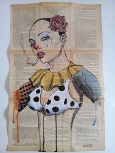 "Saatchi Art Artist Pablo Fergó; Drawing, ""clown woman 1"" #art"