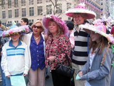 Family Posing in Easter Bonnets Easter Bonnets, Easter Parade, Family Posing, Nyc, Poses, Fashion, Figure Poses, Moda, Fashion Styles
