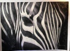 Großes Ölgemälde Leinwand Kunst eines Zebras 36 hoch von