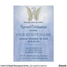 Letter A Angel Monogram Invitation