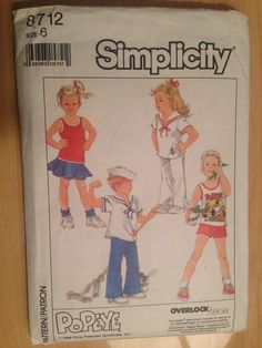 Simplicity 8712 Sewing Pattern Child's Easy To Sew by SplashOfLuv