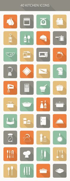 Kitchen Icon Set (40 Flat Icons: PSD, PNG, EPS, AI) | TrackDuck