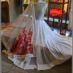 Ivory ,off white anarkali Indian Attire, Indian Ethnic Wear, Pakistani Outfits, Indian Outfits, Ethnic Fashion, Indian Fashion, Women's Fashion, Dulhan Dress, Anarkali Dress