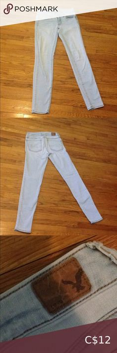 Light Blue American Eagle Skinny Jeans cotton polyester These jeans are pretty much next to brand new. I didn't get much wear out of them because I gained some weight and now they're too small. Wardrobe Sale, Good Brands, American Eagle Skinny Jeans, American Eagle Outfitters Jeans, Light Blue, Stage, Brand New, Pretty, Cotton