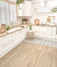 Kitchen Room Design, Modern Kitchen Design, Home Decor Kitchen, Interior Design Kitchen, Home Kitchens, Kitchen Ideas, Minimal Kitchen, Boho Kitchen, Interior Plants