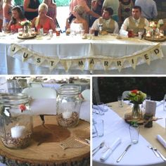 DIY wedding centerpiece ideas with bird seed, mason jars, burlap, and wood. www.jophotoonline.com