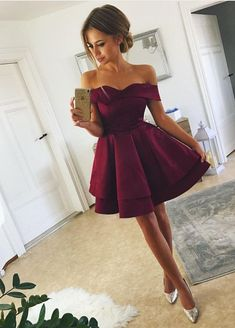 short prom dress,satin cocktail dress,off the shoulder homecoming dress,semi formal dress,graduation dresses