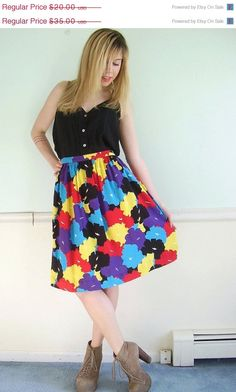 15% Off LUV YA SALE . . . Mums the Word Vintage 80s Printed Multicolor Midi Swing Spring Skirt Large L. $17.00, via Etsy.