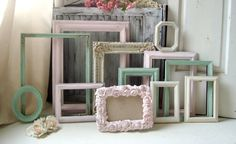Pink Mint and Antique White Vintage Frame Set by WillowsEndCottage
