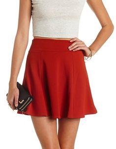 Textured High-Waisted Skater Skirt #CharlotteRusse #CRfashionista #skirt
