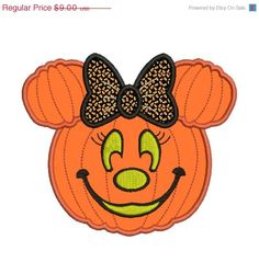 Minnie Mouse Embroidery Designs | Minnie Mouse Pumpkin Jack o Lantern Machine Embroidery Designs ...